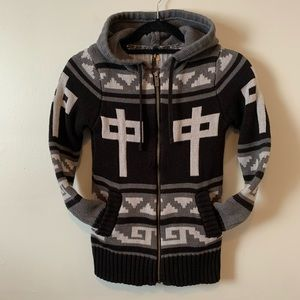 Red Dragon RDS black & grey cowichan knit hoodie